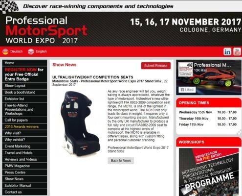 World Expo Award Nominees Motordrive Seats