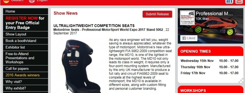 World Expo Award Nominees Motordrive Seats