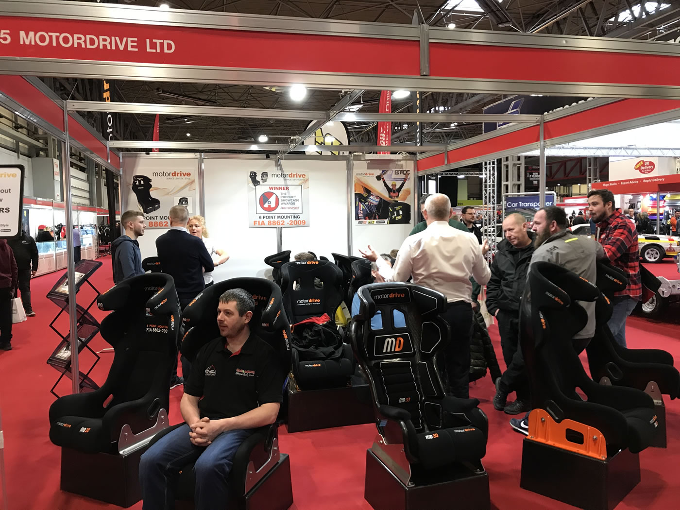 Motordrive Seats stand at the Autosport International show