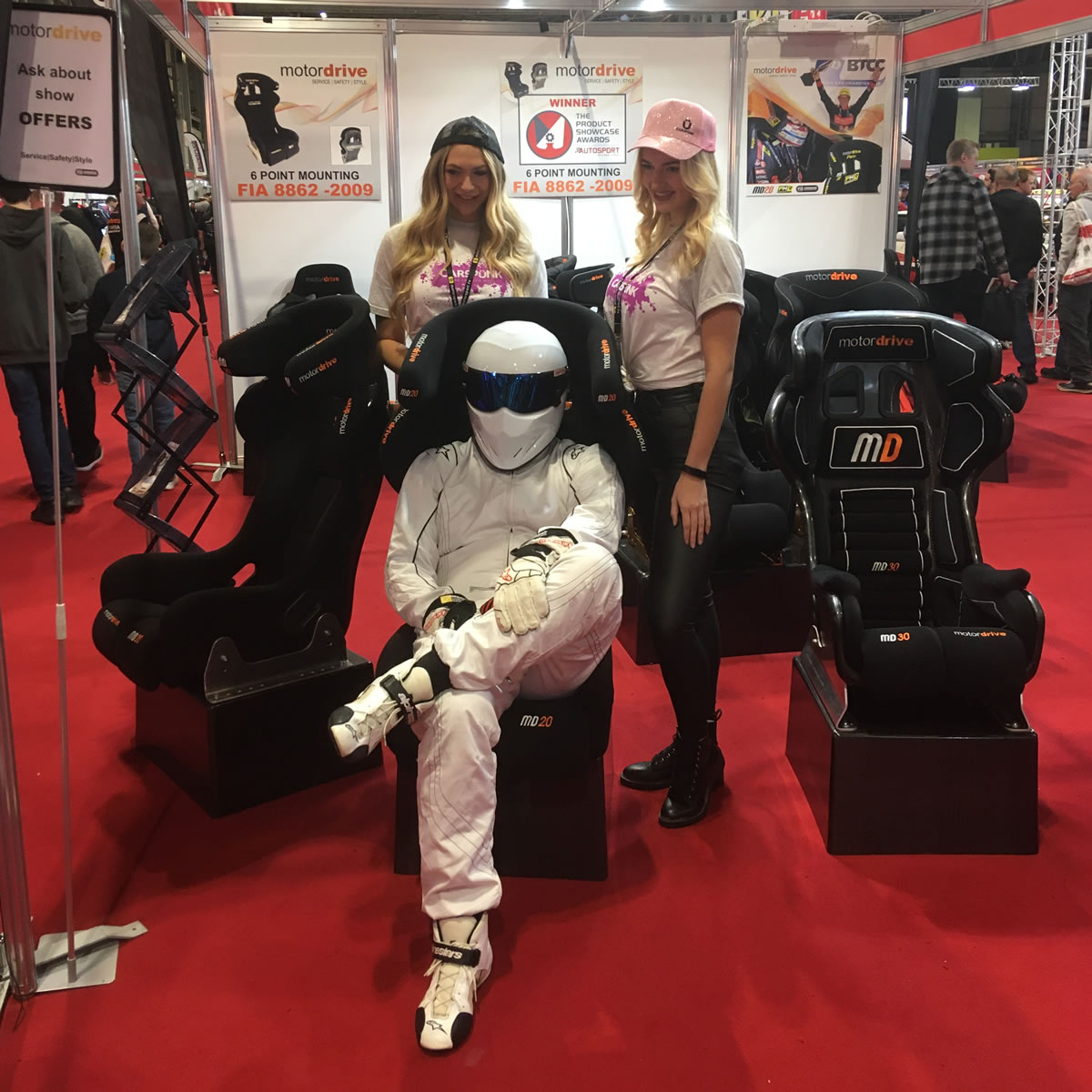 The Stig making himself comfortable in a Motordrive Seat